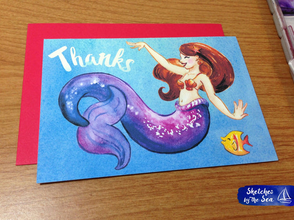 Thanks Violet Mermaid Card