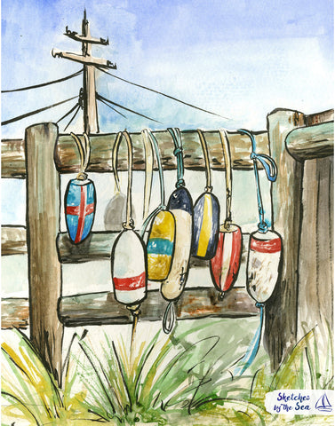 Buoys and Fenders, Watercolor and Ink Nautical Decor Print