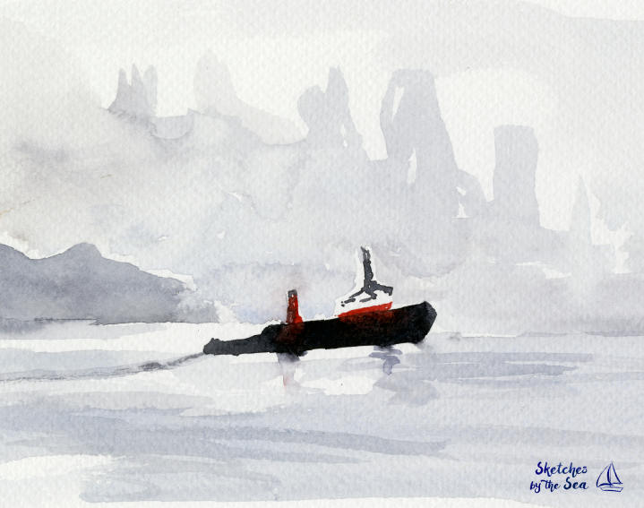Tugboat and Fog Watercolor Art Print