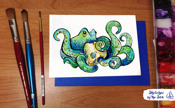 Octopus and Skull Card. Watercolored Greeting Card