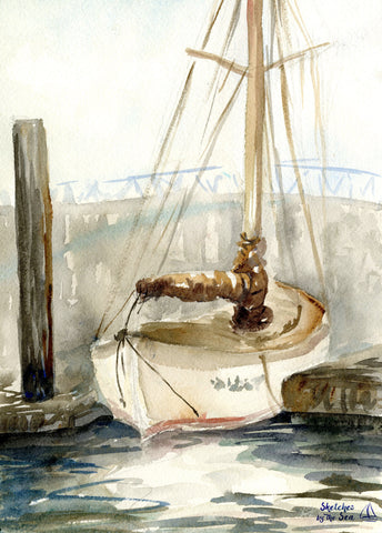 Docked Sailboat Watercolor Painting Art Print