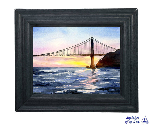 Golden Gate At Sunset, Watercolor Decor Print