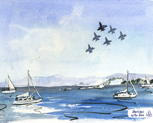 Blue Angels and White Sailboats, Watercolor and Ink Nautical Decor Print