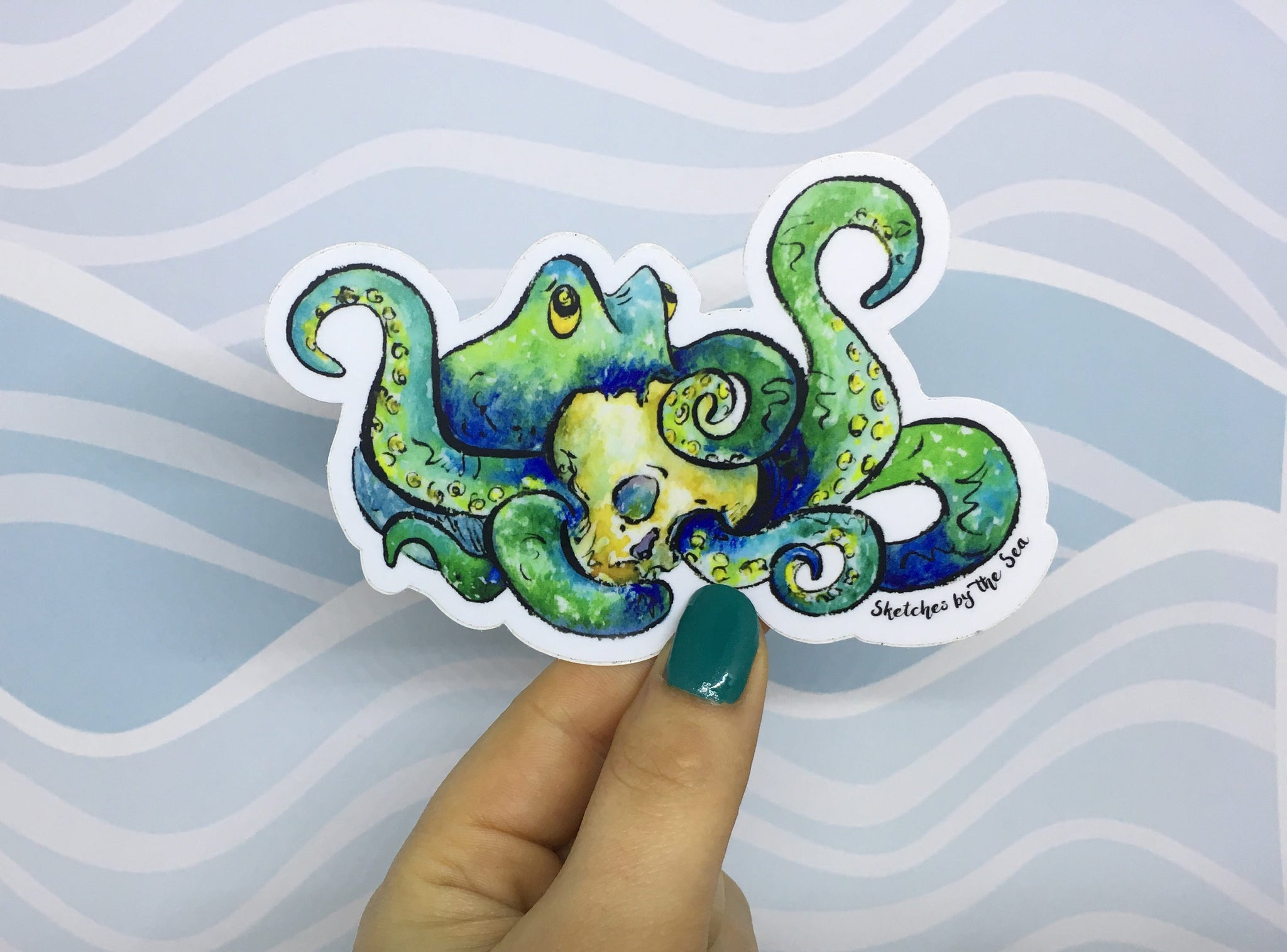 Octopus and Skull Sticker ST801