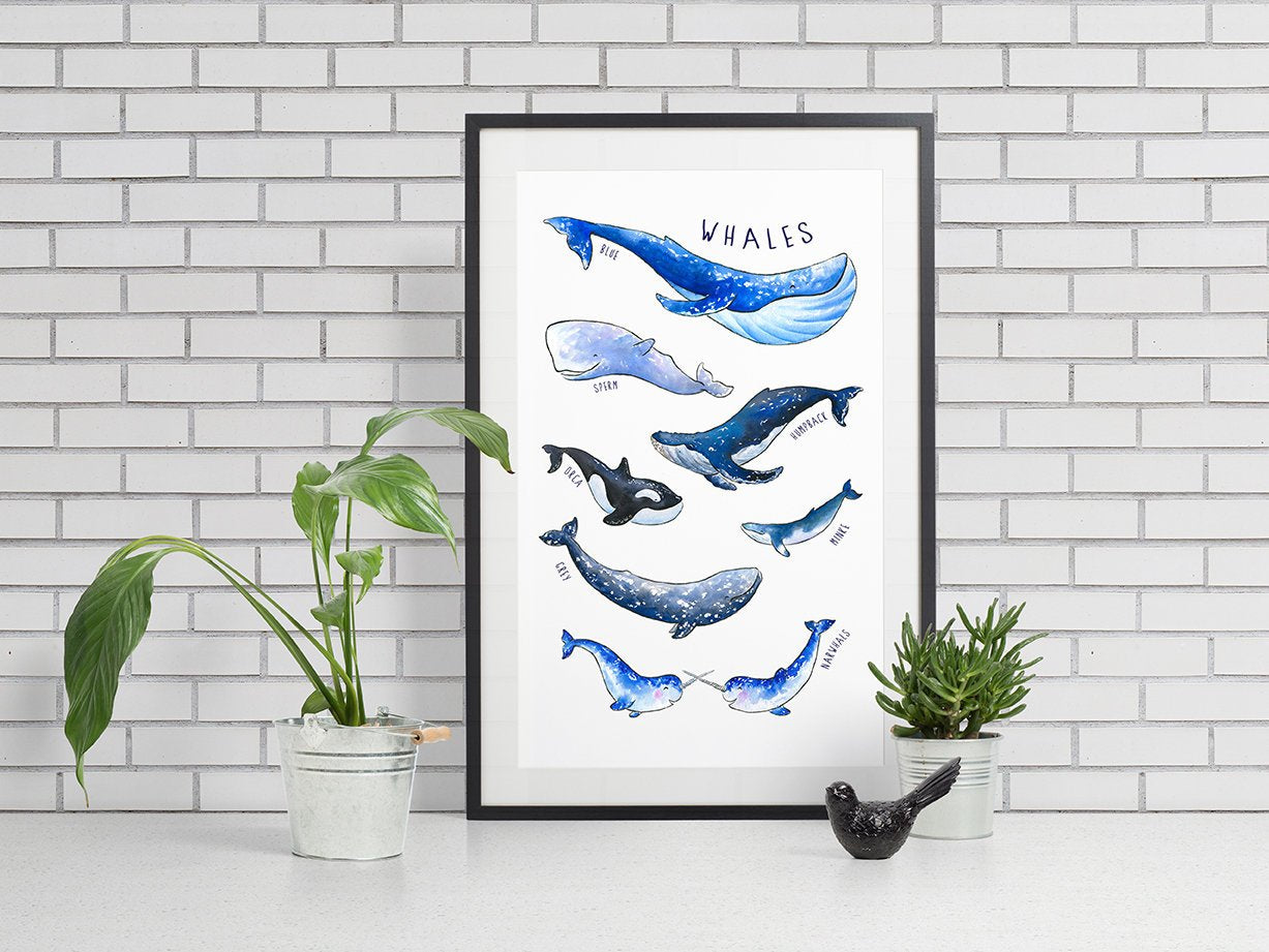 Whale Poster, Whimsical Wall Art