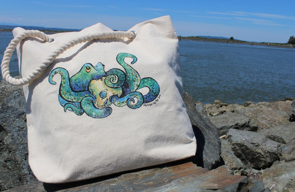 Octopus Tote Bag with Thick Rope Handles