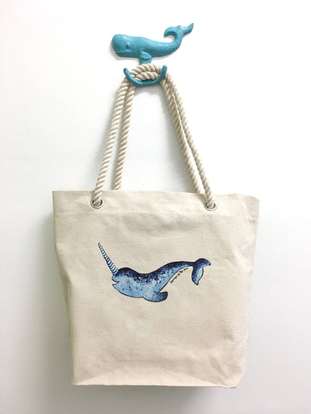 Narwhal Tote Bag with Thick Rope Handles