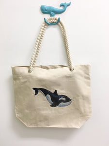 Orca Whale Tote Bag with Thick Rope Handles. Killer Whale
