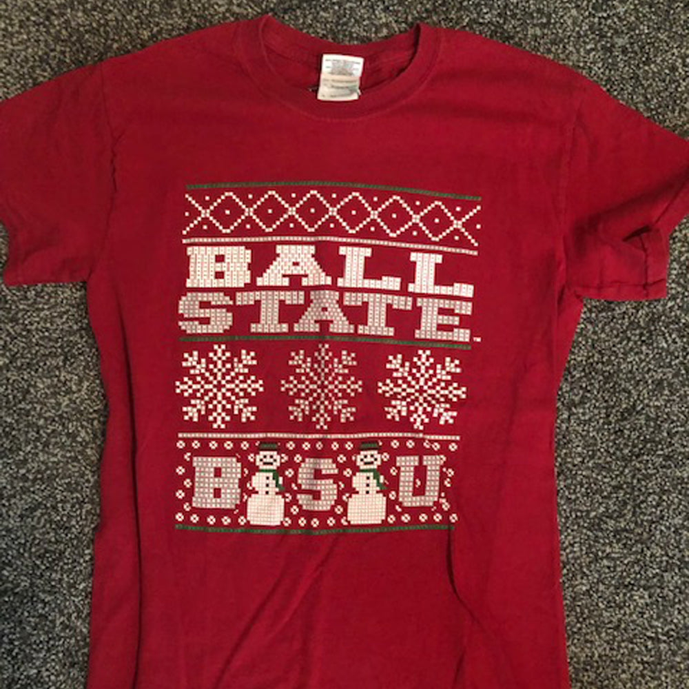 Ball State Ugly Christmas Sweater Tee - Size: Small