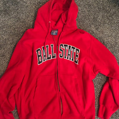 BSU Arch Hooded Full Zip Sweatshirt - Size: Large