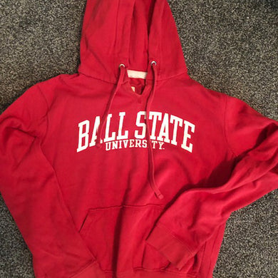 Ball State Vintage Red Hooded Sweatshirt - Size: Medium