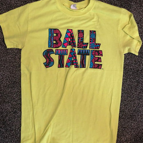 Yellow Crazy BSU Print Tee - Size: Small