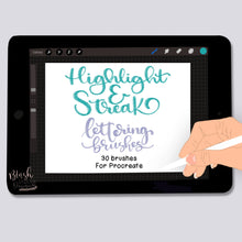Load image into Gallery viewer, Highlight and Streak Lettering Procreate Brushes