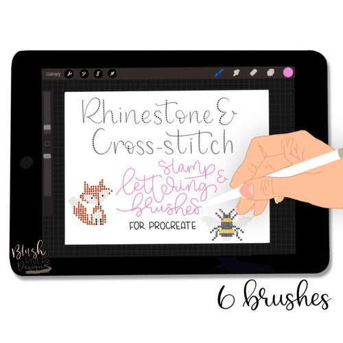 Rhinestone & Cross-stitch Art and Lettering Procreate Brushes