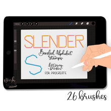 Load image into Gallery viewer, Slender Bevel Alphabet Procreate Brush Stamps