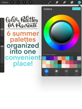 Load image into Gallery viewer, Summery Procreate Color Palette - 6 Mini Color Palettes Inside