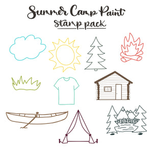 Summer Camp Paint Art and Lettering Procreate Stamp Set