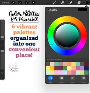 Vibrant Procreate Color Palette - 6 Mini Color Palettes Inside