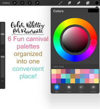 Load image into Gallery viewer, Carnival Procreate Color Palette - 6 Mini Color Palettes Inside