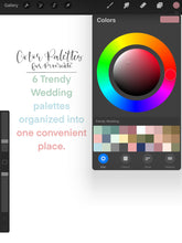 Load image into Gallery viewer, Trendy Wedding Procreate Color Palette - 6 Mini Color Palettes Inside
