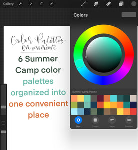 Summer Camp Procreate Color Palette - 6 Mini Color Palettes Inside