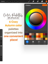 Load image into Gallery viewer, Cozy Autumn Procreate Color Palette - 6 Mini Color Palettes Inside