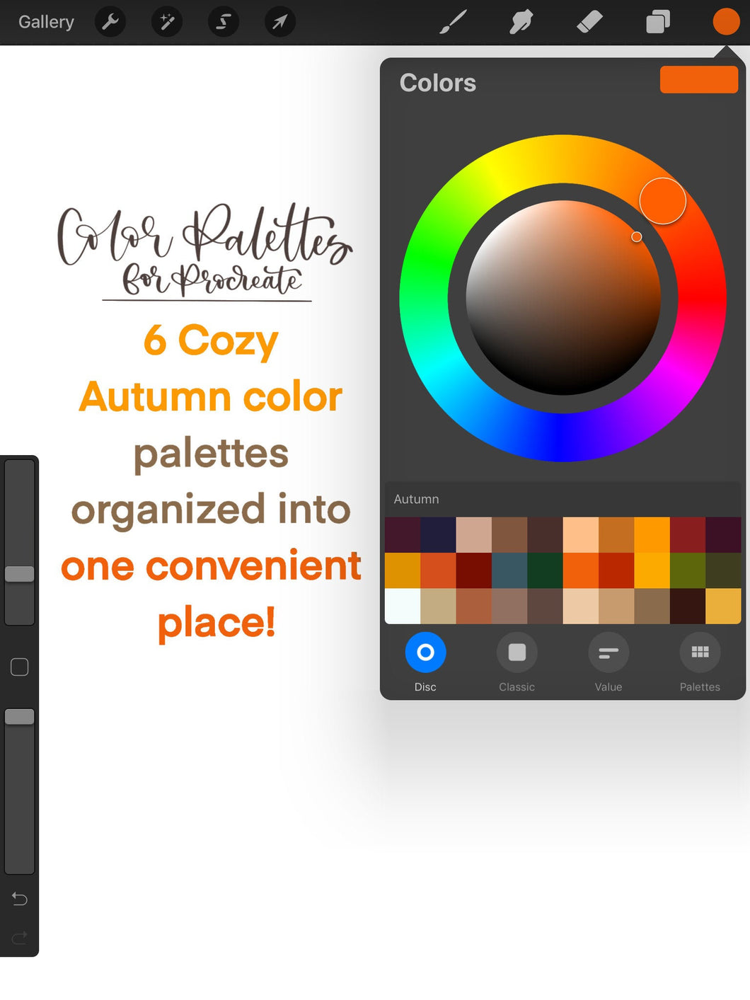 Cozy Autumn Procreate Color Palette - 6 Mini Color Palettes Inside