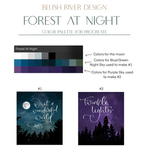 Forest At Night - Art & Stamp brushes for Procreate