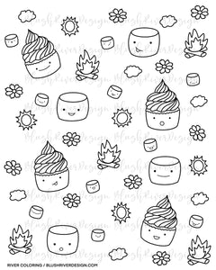 Cupcake Summer Time Coloring Page