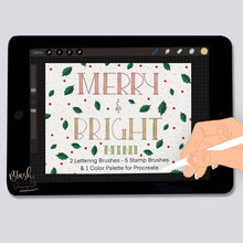Load image into Gallery viewer, Merry and Bright MINI- Lettering and Stamp Brushes for Procreate