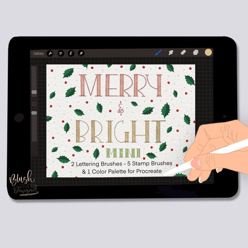 Merry and Bright MINI- Lettering and Stamp Brushes for Procreate