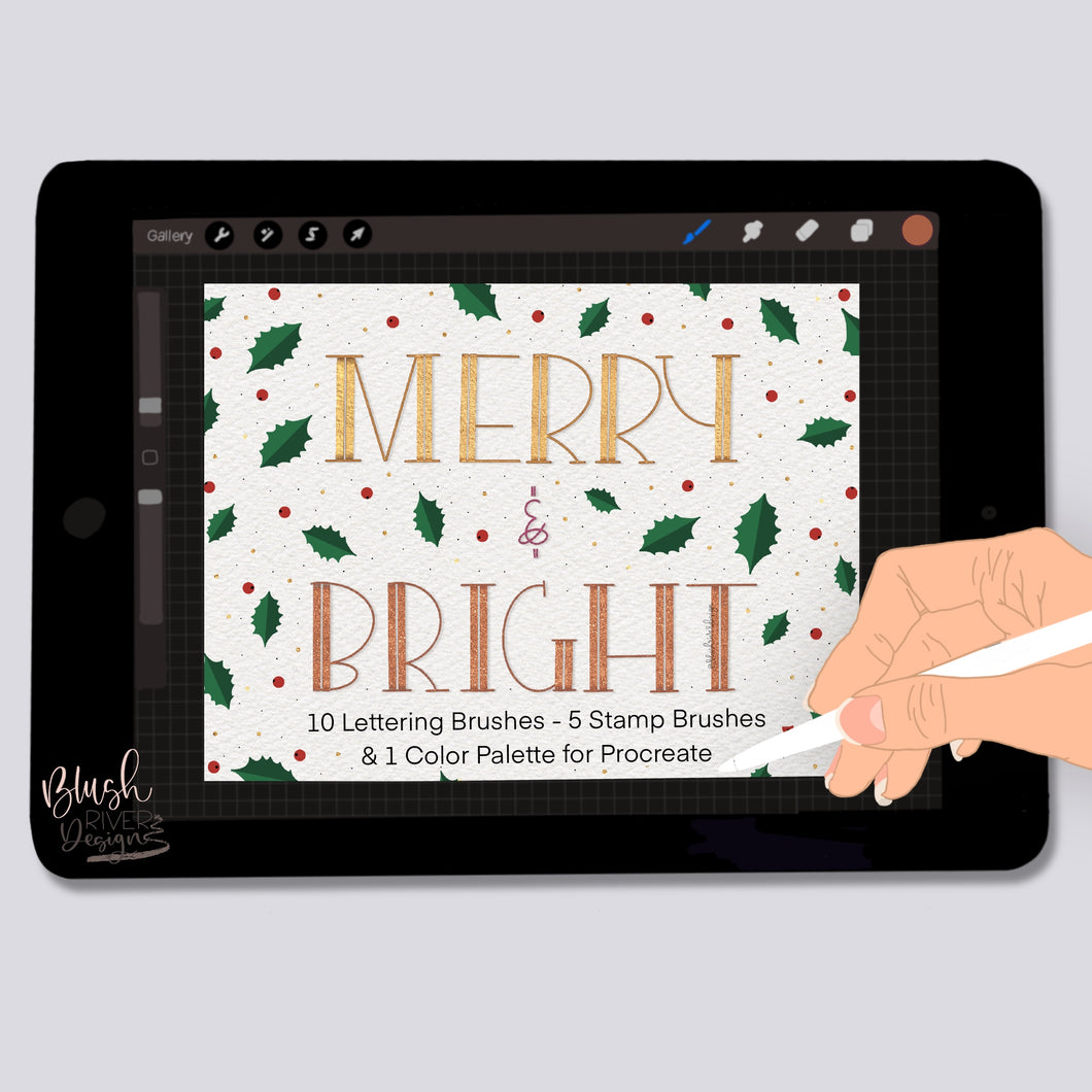 Merry and Bright - Lettering and Stamp brushes for Procreate