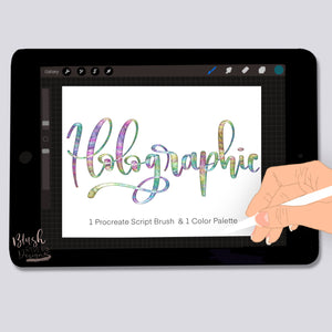 Holographic Script Procreate Brush