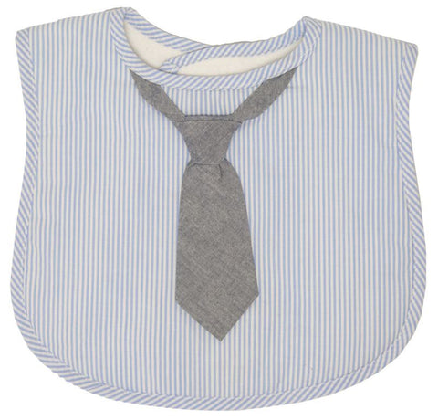 Blue Stripe Bib - Grey Tie