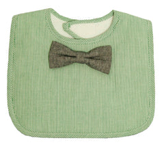 Green Pinstripe Bib - With Bowtie