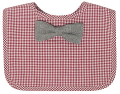 Red Check Bib - Grey Bow Tie