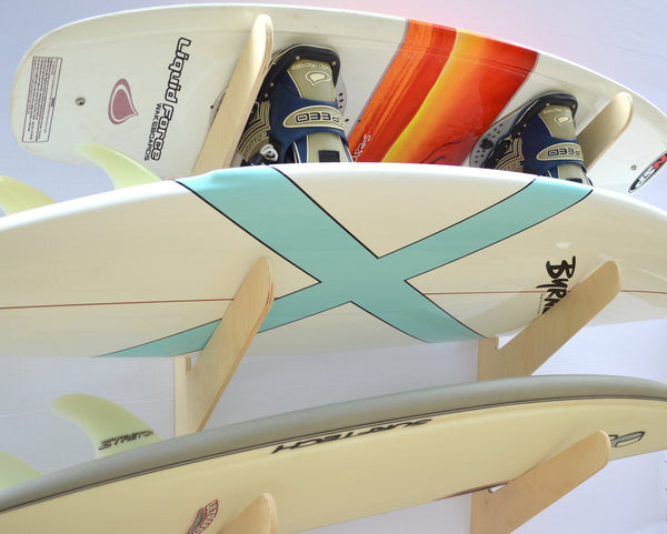 Surfboard Wall Rack - Quad Wooden Birch