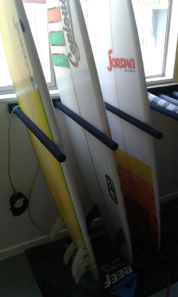 Surfboard Wall Rack (or SUP) - Quad VERTICAL Steel by Curve