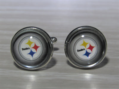 Upcycled Football Card Cufflinks, Pittsburgh Steelers Cufflinks made from Football Cards, Wedding Cufflinks