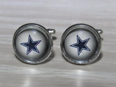 Upcycled Football Card Cufflinks, Cowboys Cufflinks made from Football Cards, Wedding