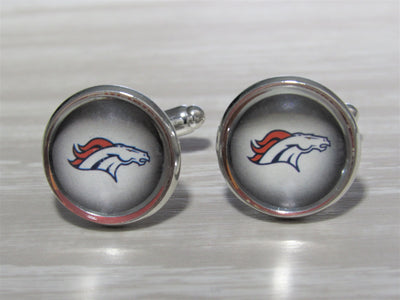 Upcycled Football Card Cufflinks, Denver Broncos Cufflinks made from Football Cards, Wedding Cufflinks