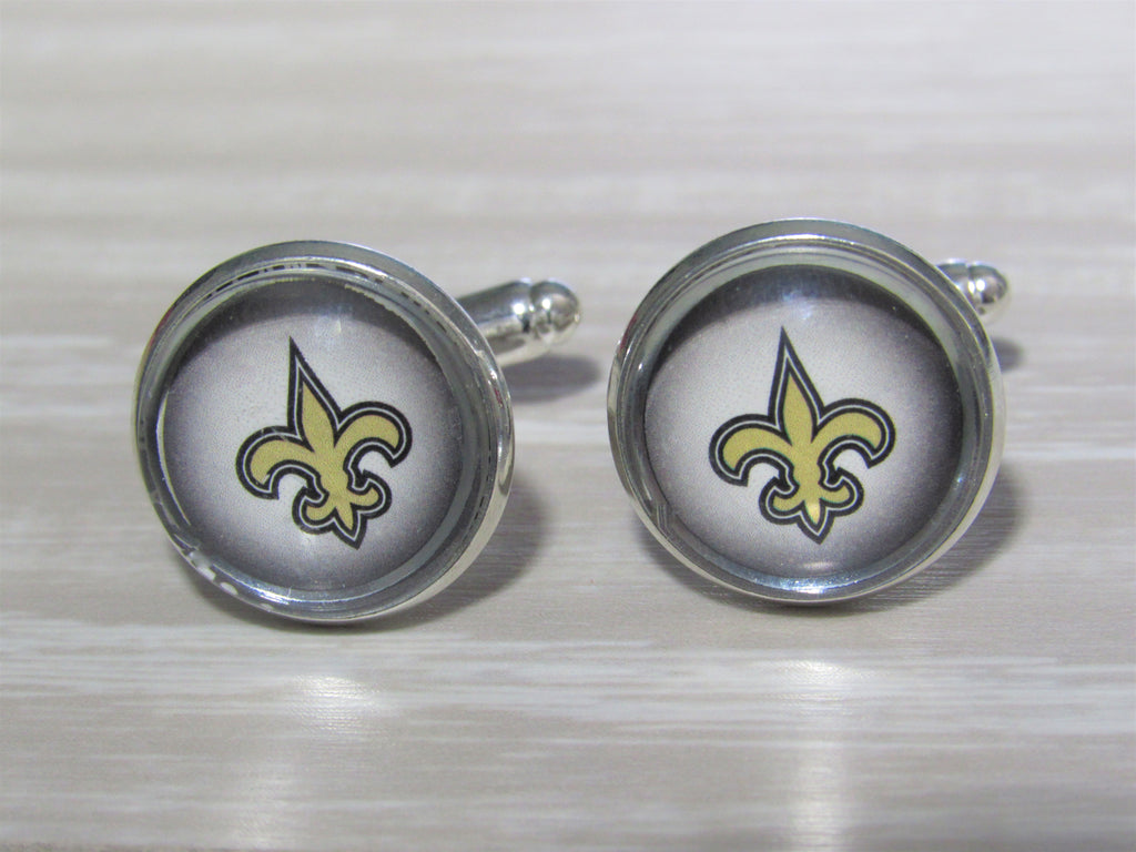 Upcycled Football Card Cufflinks, New Orleans Saints Cufflinks made from Football Cards, Wedding Cufflinks