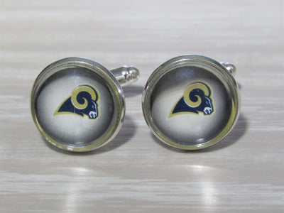Upcycled Football Card Cufflinks, Los Angeles Rams Cufflinks made from Football Cards, Wedding Cufflinks
