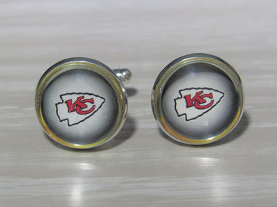 Upcycled Football Card Cufflinks, Chiefs Cufflinks made from Football Cards, Wedding Cufflinks