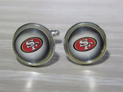 Upcycled Football Card Cufflinks, San Francisco 49ers Cufflinks made from Football Cards, Wedding Cufflinks, Bestman Gift, Groomsman Gift