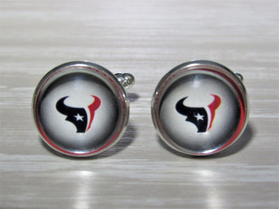 Upcycled Football Card Cufflinks, Houston Texans Cufflinks made from Football Cards, Wedding Cufflinks, Bestman Gift, Groomsman Gift