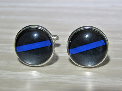 Thin Blue Line Cufflinks, Gift For Him, Formalwear, Wedding Cufflinks, Glass