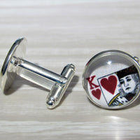 King Of Hearts Cards Cufflinks, Groomsmen, Vegas Wedding Jewelry, Gift For Him, Formalwear