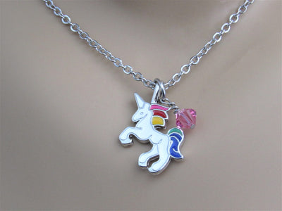 Unicorn Charm Necklace with Swarovski Birthstone Bead