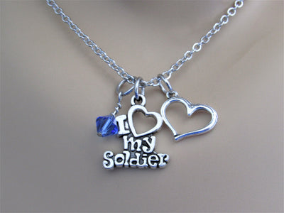 I Love My Soldier Charm Necklace with Swarovski Crystal Birthstone Bead & Heart Charm